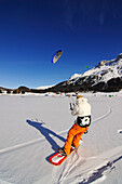Kitesurfer, Lake Silvaplana, Sankt Moritz, Grisons, Switzerland, model released