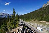 Camper, Trans Canada Highway, Castle Mountain, Alberta, Canada