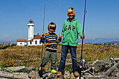 Boys with angle, Fort Worden State Park, Port Townsend, Washington State, USA, MR