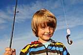 Boy with angle, Fort Worden State Park, Port Townsend, Washington State, USA