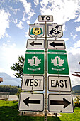 Traffic Sign, Trans Canada Highway, British Columbia, Canada