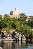 Nile River Cataract and Mausoleum of Aga Khan, Aswan, Egypt