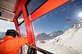 Overhead cable car to Piz Nair, ski area Corviglia, St. Moritz, Engadin, Grisons, Switzerland
