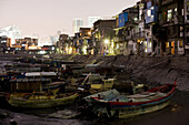 Old harbour with fishing boats in the evening, Siming district, Xiamen, Fujian province, China, Asia