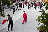 Chinese people doing sports in the Zhongshan Park, Xiamen, Fujian, China, Asia