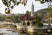Lotos pond at Nanputuo Temple and pagoda, Xiamen, Fujian, China, Asia