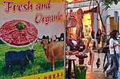 Market stand with meat at Wanchai Market, Wanchai, Hong Kong, China, China, Asia