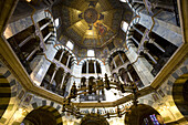 View into the Oktogon of Aachen cathedral, Aachen, North Rhine-Westphalia, Germany, Europe