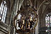 Angel sculpture in St. Lorenz church in Nuremberg, Nuremberg, Bavaria, Germany, Europe