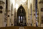Interior view of Ulm Minster, View towards the choir stalls, Ulmer Münster, Ulm, Baden-Württemberg, Germany, Europe