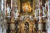 Interior view of Wies church, Wieskirche in Steingaden, Pfaffenwinkel, build from 1745–1754 by brothers Johann Baptist and Dominikus Zimmermann, UNESCO world cultural heritage, Bavaria, Germany, Europe
