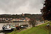 Hirschhorn, known as the Pearl of the Neckar valley, River Neckar, Hesse, Germany, Europe