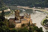Katz Castle seen from Patersberg across St. Goarshausen, River Rhine, Rhineland-Palatinate, Germany, Europe, UNESCO world cultural heritage