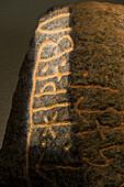 Rune stone in the viking Museum Haithabu, near Schleswig, Schleswig-Holstein, Germany, Europe