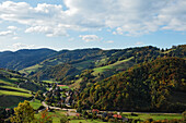 View over Obermunstertal in autumn, Munstertal, Baden-Wurttemberg, Germany