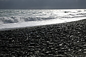 Waves and beach with black stones, Kenting National Park, Kenting, Kending, Republic of China, Taiwan, Asia