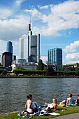 View over river Main to high-rise buildings, Frankfurt am Main, Hesse, Germany