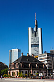 Hauptwache with high-rise buildings in the background, Frankfurt am Main, Hesse, Germany