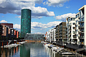 Western harbour with Westhafen Tower, like a typical cider glass, Frankfurt am Main, Hesse, Germany