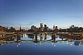 View over the river Main towards the Old Bridge and the Frankfurt skyline, Frankfurt am Main, Hesse, Germany