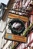Restaurant sign, Roemerberg, Frankfurt am Main, Hesse, Germany
