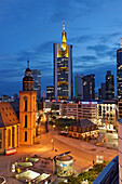 Hauptwache and St. Catherine's Church, skyscrapers in background, Frankfurt am Main, Hesse, Germany