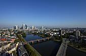 Cityscape with skyline and Main river, Frankfurt am Main, Hesse, Germany