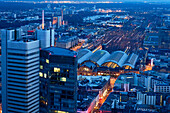 Cityscape with central station, Frankfurt am Main, Hesse, Germany