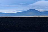 Hügellandschaft und bewölkter Himmel, Island