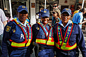 Three police women in uniform, Football world cup final draw, 04.12.2009, fans celebrate the drawing of the first round, Long street, Capetown, Western Cape, South Africa, Africa