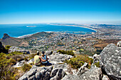 Couple admiring the view from Table Mountain, Cape Town, Western Cape, South Africa, Africa