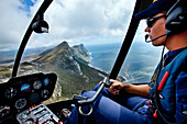 Helicopter pilot, view from helicopter, Cape Town, Cape Peninsula, Western Cape, South Africa, Africa