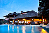 Aquila Lodge in the evening light and swimming pool, Cape Town, Western Cape, South Africa, Africa