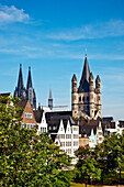 Cathedral and Great St. Martin Church, Old town, Cologne, North Rhine-Westphalia, Germany