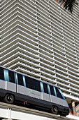 Florida,  Miami,  Biscayne Boulevard,  Metromover,  high-rise,  high rise,  building,  condominium,  balconies,  50 Biscayne,  people mover system,  public transportation,  tram,  modern architecture
