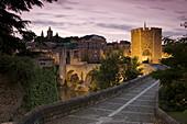 Spain,  Catalunia Catalunya,  Besalu,  Pont Vell Old Bridge over Fluvia River