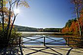 Chocorua Lake with sun as backlight in autumn Chocorua Lake,  New Hampshire,  New England,  USA,  America
