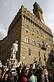 Palazzo Vecchio and the statue of Neptune at the Piazza della Signoria seen from frog´s perspective,  Florence (Firenze),  Tuscany,  Italy,  Southern Europe
