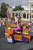 Mickey Mouse and Minnie Mouse on Float in Parade at Walt Disney Magic Kingdom Theme Park Orlando Florida Central
