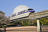 Monorail approaches Spaceship Earth at Walt Disney World Epcot Theme Park Center Orlando Florida Central