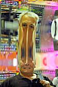 Man Sees Head in Distorted Fun Mirror Downtown Disney Orlando Florida
