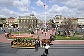 View of Main Street at Walt Disney Magic Kingdom Theme Park Orlando Florida Central from the Train Station
