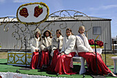 Queen and her court on float at Strawberry Festival Parade Plant City Florida