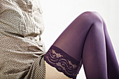 Chica, Girl, Lace, Leg, Lingerie, Media, Mujer, One, Pierna, Purple, Sexy, Una, Woman, L55-849980, agefotostock