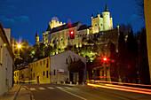 Alcazar fortress from San Marcos neighbourhood at night,  Segovia. Castilla-Leon,  Spain