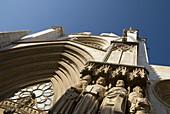 Façade detail  Gothic cathedral built 12-14th century,  front facing Pla de la Seu square  Tarragona  Spain