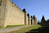 Walls,  Carcassonne fortified town. Aude,  Languedoc-Roussillon,  France