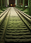 Bridge, Color, Colour, Green, Metal, Night, Nocturnal, Railroad, Snow, Structure, Track, Train, M90-863207, agefotostock