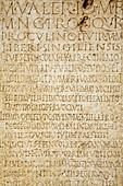 Roman inscriptions on marble preserved in municipal museum,  Palacio de Najera,  Antequera. Malaga province,  Andalucia,  Spain