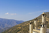 Typical roof with chimneys Bubion,  Alpujarras Granada province,  Andalusia,  Spain